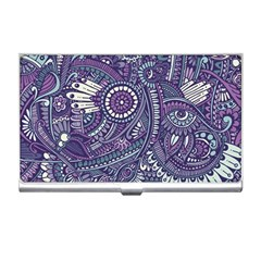 Purple Hippie Flowers Pattern, Zz0102, Business Card Holder by Zandiepants