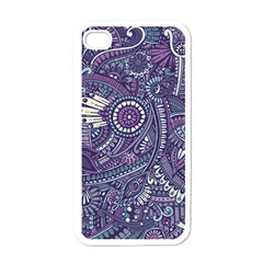 Purple Hippie Flowers Pattern, Zz0102, Apple Iphone 4 Case (white) by Zandiepants