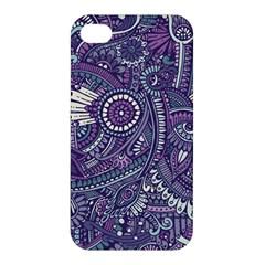 Purple Hippie Flowers Pattern, Zz0102, Apple Iphone 4/4s Premium Hardshell Case by Zandiepants