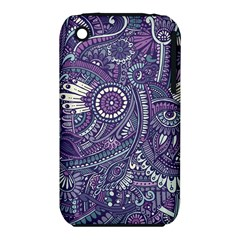 Purple Hippie Flowers Pattern, Zz0102, Apple Iphone 3g/3gs Hardshell Case (pc+silicone) by Zandiepants