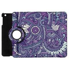 Purple Hippie Flowers Pattern, Zz0102, Apple Ipad Mini Flip 360 Case by Zandiepants