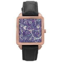 Purple Hippie Flowers Pattern, Zz0102, Rose Gold Leather Watch  by Zandiepants