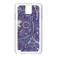 Purple Hippie Flowers Pattern, Zz0102, Samsung Galaxy Note 3 N9005 Case (white) by Zandiepants
