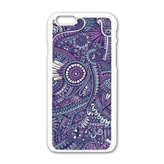 Purple Hippie Flowers Pattern, Zz0102, Apple Iphone 6/6s White Enamel Case by Zandiepants