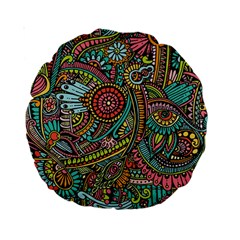 Colorful Hippie Flowers Pattern, zz0103 Standard 15  Premium Round Cushion  by Zandiepants