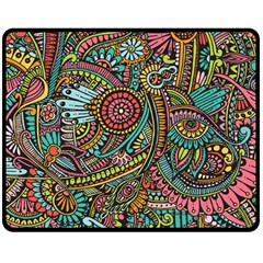 Colorful Hippie Flowers Pattern, Zz0103 Double Sided Fleece Blanket (medium) by Zandiepants