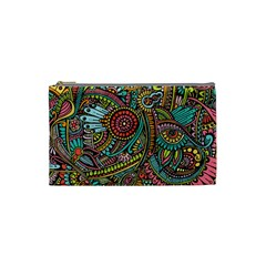 Colorful Hippie Flowers Pattern, Zz0103 Cosmetic Bag (small) by Zandiepants