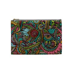 Colorful Hippie Flowers Pattern, Zz0103 Cosmetic Bag (medium) by Zandiepants