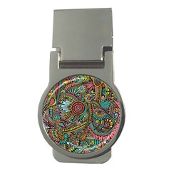 Colorful Hippie Flowers Pattern, zz0103 Money Clip (Round) by Zandiepants