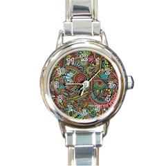 Colorful Hippie Flowers Pattern, Zz0103 Round Italian Charm Watch by Zandiepants