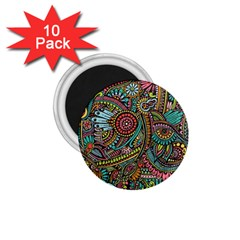 Colorful Hippie Flowers Pattern, Zz0103 1 75  Magnet (10 Pack)  by Zandiepants