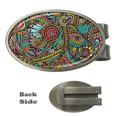 Colorful Hippie Flowers Pattern, Zz0103 Money Clip (oval) by Zandiepants