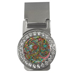 Colorful Hippie Flowers Pattern, Zz0103 Money Clip (cz) by Zandiepants