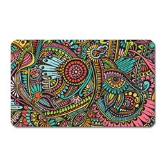 Colorful Hippie Flowers Pattern, Zz0103 Magnet (rectangular) by Zandiepants