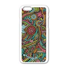 Colorful Hippie Flowers Pattern, Zz0103 Apple Iphone 6/6s White Enamel Case by Zandiepants