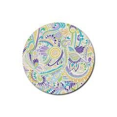 Purple, Green, Yellow Hippie Flowers Pattern, zz0104 Rubber Round Coaster (4 pack) by Zandiepants