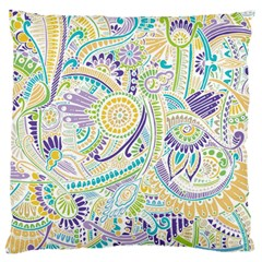 Purple, Green, Yellow Hippie Flowers Pattern, Zz0104 Standard Flano Cushion Case (two Sides) by Zandiepants