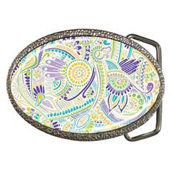 Purple, Green, Yellow Hippie Flowers Pattern, Zz0104 Belt Buckle by Zandiepants