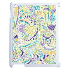 Purple, Green, Yellow Hippie Flowers Pattern, Zz0104, Apple Ipad 2 Case (white) by Zandiepants