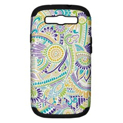 Purple, Green, Yellow Hippie Flowers Pattern, Zz0104, Samsung Galaxy S Iii Hardshell Case (pc+silicone) by Zandiepants