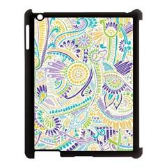 Purple, Green, Yellow Hippie Flowers Pattern, Zz0104, Apple Ipad 3/4 Case (black) by Zandiepants