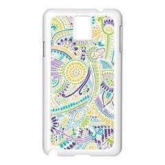 Purple, Green, Yellow Hippie Flowers Pattern, Zz0104, Samsung Galaxy Note 3 N9005 Case (white) by Zandiepants