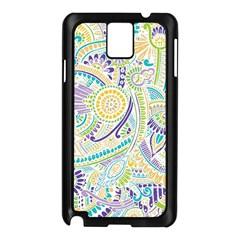 Purple, Green, Yellow Hippie Flowers Pattern, Zz0104, Samsung Galaxy Note 3 N9005 Case (black) by Zandiepants