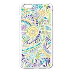 Purple, Green, Yellow Hippie Flowers Pattern, Zz0104, Apple Iphone 6 Plus/6s Plus Enamel White Case by Zandiepants