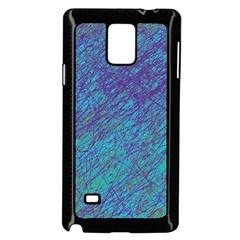 Blue pattern Samsung Galaxy Note 4 Case (Black) by Valentinaart