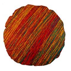Orange Van Gogh Pattern Large 18  Premium Round Cushions by Valentinaart