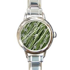 Green Decorative Pattern Round Italian Charm Watch by Valentinaart