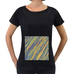 Blue and yellow Van Gogh pattern Women s Loose-Fit T-Shirt (Black)