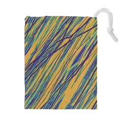 Blue and yellow Van Gogh pattern Drawstring Pouches (Extra Large) by Valentinaart