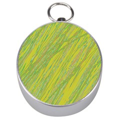 Green And Yellow Van Gogh Pattern Silver Compasses by Valentinaart