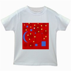 Red Sky Kids White T Shirts by Valentinaart