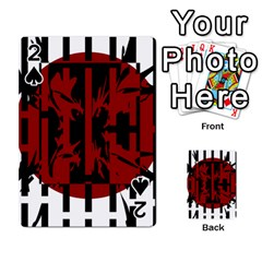 Red, Black And White Decorative Abstraction Playing Cards 54 Designs  by Valentinaart