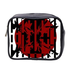 Red, Black And White Decorative Abstraction Mini Toiletries Bag 2 Side by Valentinaart