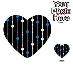 Blue, White And Black Pattern Multi Purpose Cards (heart)  by Valentinaart