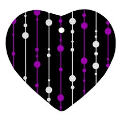 Purple, Black And White Pattern Heart Ornament (2 Sides) by Valentinaart