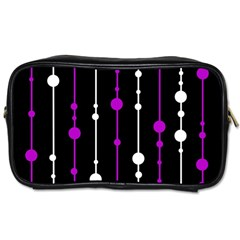 Purple, Black And White Pattern Toiletries Bags by Valentinaart