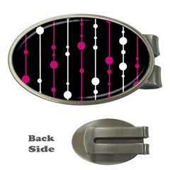 Magenta White And Black Pattern Money Clips (oval)  by Valentinaart