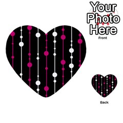 Magenta White And Black Pattern Multi Purpose Cards (heart)  by Valentinaart