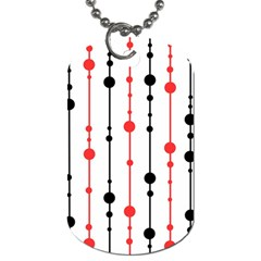 Red, Black And White Pattern Dog Tag (one Side) by Valentinaart