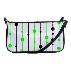 Green Pattern Shoulder Clutch Bags by Valentinaart