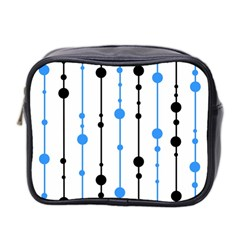 Blue, White And Black Pattern Mini Toiletries Bag 2 Side by Valentinaart