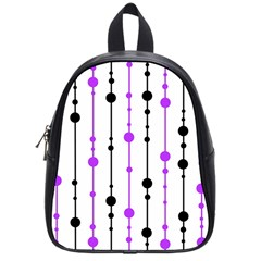 Purple, White And Black Pattern School Bags (small)  by Valentinaart