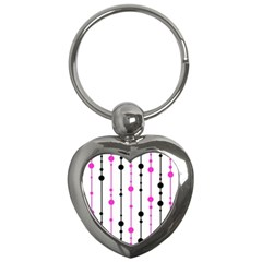 Magenta, Black And White Pattern Key Chains (heart)  by Valentinaart