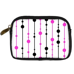 Magenta, Black And White Pattern Digital Camera Cases by Valentinaart