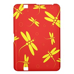 Red And Yellow Dragonflies Pattern Kindle Fire Hd 8 9  by Valentinaart