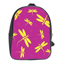 Purple And Yellow Dragonflies Pattern School Bags(large)  by Valentinaart